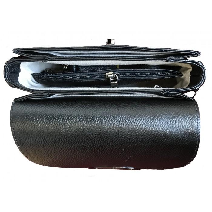 Women's genuine leather handbag with strap black