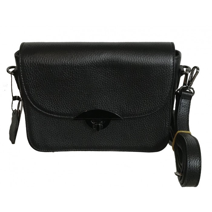 Women's genuine leather handbag with strap black