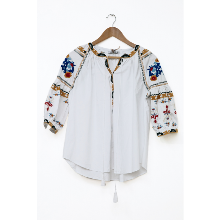 Womens Casual  3/4 Sleeve white Embroidered Tops
