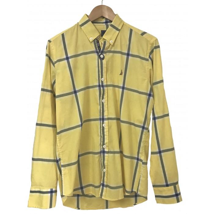 Mens long Sleeve Flannel Tartan yellow Shirt