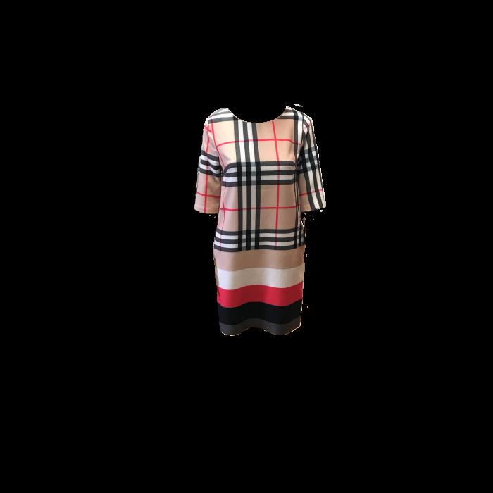 Stylish crew neck three quarter sleeve Burberry inspired Women's Dress