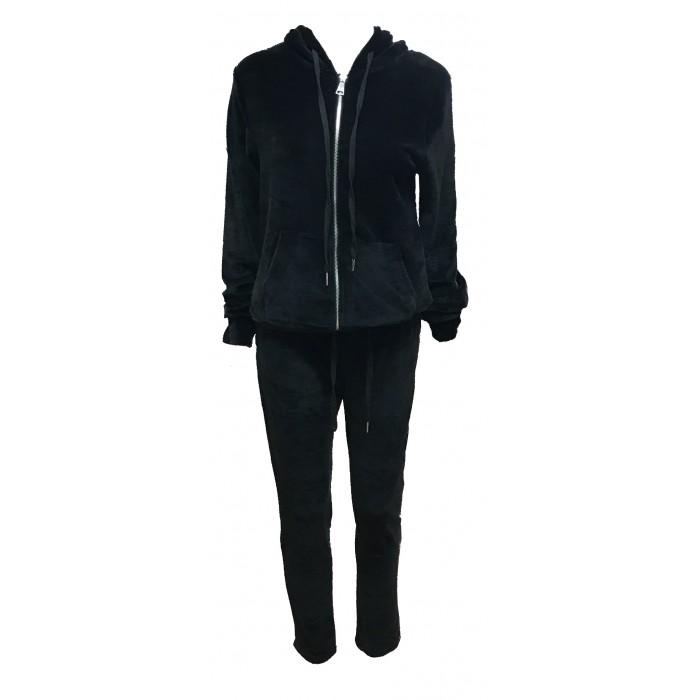 Women's Ladies Hoodie velour Tacksuit joggers Set Casual Black