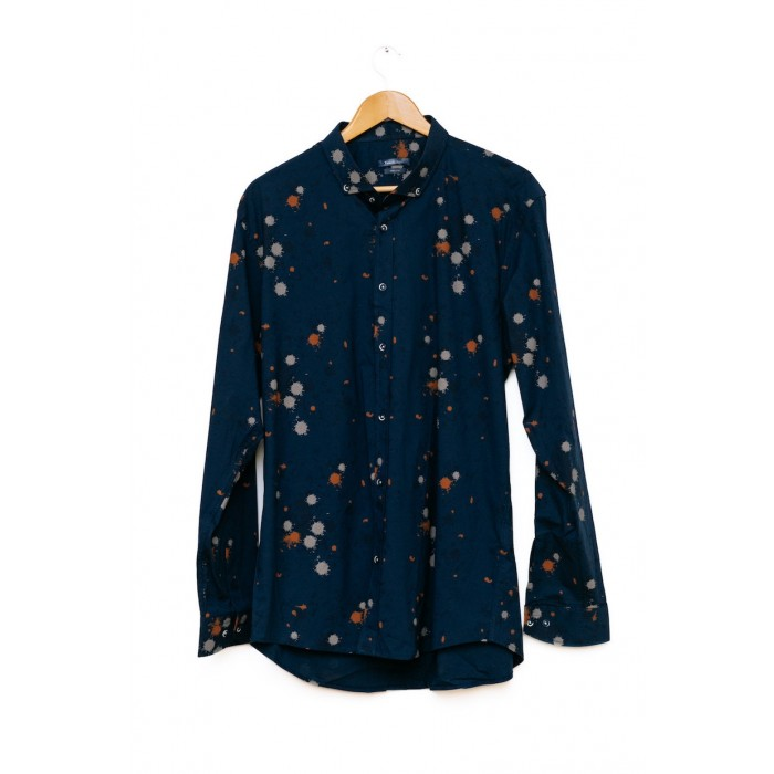 Men's Paint Splatter Long Sleeve Shirt Blue